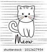 cute cat character. hand drown... | Shutterstock .eps vector #1012627954
