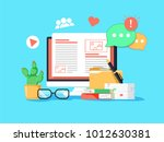 blogging concept illustration.... | Shutterstock .eps vector #1012630381