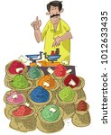 a street vendor sels indian... | Shutterstock .eps vector #1012633435