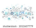 blockchain word surrounded by... | Shutterstock .eps vector #1012637779