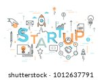 startup word surrounded by... | Shutterstock .eps vector #1012637791