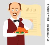 cute waiter with tray serving...   Shutterstock .eps vector #1012638031