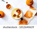 overhead of cream cheese... | Shutterstock . vector #1012640629