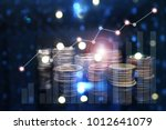rows of coins for finance and... | Shutterstock . vector #1012641079