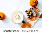 overhead of cream cheese... | Shutterstock . vector #1012641571