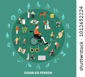 disabled person round... | Shutterstock .eps vector #1012652224