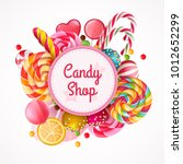 candy shop round frame... | Shutterstock .eps vector #1012652299