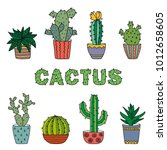 decorative cactuses with... | Shutterstock .eps vector #1012658605