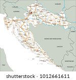 high detailed croatia road map... | Shutterstock .eps vector #1012661611