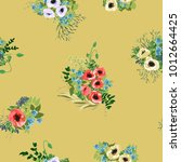 seamless pattern in small cute... | Shutterstock . vector #1012664425