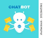 cute robot chat bot holds... | Shutterstock .eps vector #1012665361