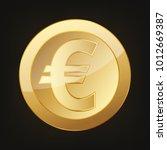 gold euro coin. vector... | Shutterstock .eps vector #1012669387