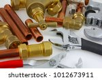 new copper pipework ready for... | Shutterstock . vector #1012673911
