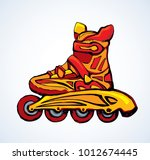 new red rollerblade brake race... | Shutterstock .eps vector #1012674445