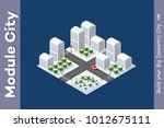 set of isometric objects and... | Shutterstock .eps vector #1012675111