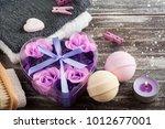 bath spa accessories on rustic... | Shutterstock . vector #1012677001