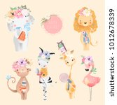 safari baby animals collection. ... | Shutterstock .eps vector #1012678339