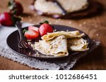 sweet french crepes with... | Shutterstock . vector #1012686451