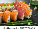 sushi set nigiri and sushi...   Shutterstock . vector #1012692685