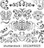 set of hand drawn calligraphic... | Shutterstock .eps vector #1012695025