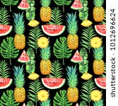 seamless pattern with... | Shutterstock . vector #1012696624