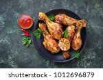 grilled chicken legs with... | Shutterstock . vector #1012696879
