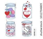 cute romantic  valentine's day  ... | Shutterstock .eps vector #1012704805