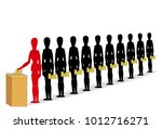 people waiting in line for... | Shutterstock .eps vector #1012716271