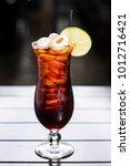 lychee thai iced tea in tall... | Shutterstock . vector #1012716421