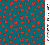 red hearts    seamless vector... | Shutterstock .eps vector #1012725055