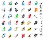media auto icons set. isometric ... | Shutterstock .eps vector #1012725265
