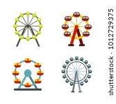 ferris wheel icon set. flat set ... | Shutterstock .eps vector #1012729375