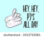 vector funny bunny slippers... | Shutterstock .eps vector #1012732081