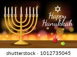 happy hanukkah card template... | Shutterstock .eps vector #1012735045