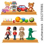 different dolls and balls on... | Shutterstock .eps vector #1012735081