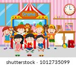 happy kids playing in classroom ... | Shutterstock .eps vector #1012735099