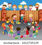 kids playing balloons on street ... | Shutterstock .eps vector #1012735129