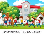 school band marching in front... | Shutterstock .eps vector #1012735135
