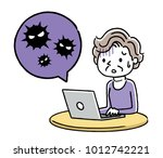 senior woman  pc  virus ... | Shutterstock .eps vector #1012742221