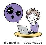 senior woman  pc  virus ... | Shutterstock .eps vector #1012742221