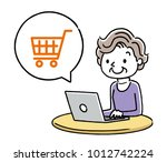 senior woman  internet ... | Shutterstock .eps vector #1012742224