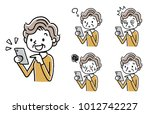senior woman  smartphone  set ... | Shutterstock .eps vector #1012742227