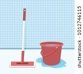 mop and bucket with water... | Shutterstock .eps vector #1012746115