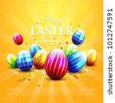 luxury easter greeting card... | Shutterstock .eps vector #1012747591