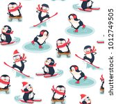 seamless pattern with penguins. ... | Shutterstock .eps vector #1012749505