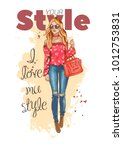 fashion look. beautiful young... | Shutterstock .eps vector #1012753831