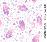 cute magic seamless pattern.... | Shutterstock .eps vector #1012763131