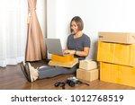 women working laptop computer... | Shutterstock . vector #1012768519
