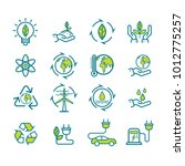 set of ecology icon in thin... | Shutterstock .eps vector #1012775257