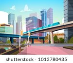 modern city panorama with high... | Shutterstock .eps vector #1012780435